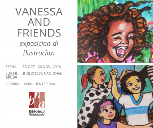 Exposicion 'Vanessa and friends' @ Biblioteca Nacional Aruba